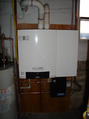 A 97%+ Eff.. boiler installed in a commercial application. This boiler is installed in a church in Harris Mn.      1 of 3